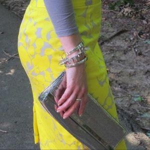 J. Crew Gladiola Print yellow & gray pencil skirt